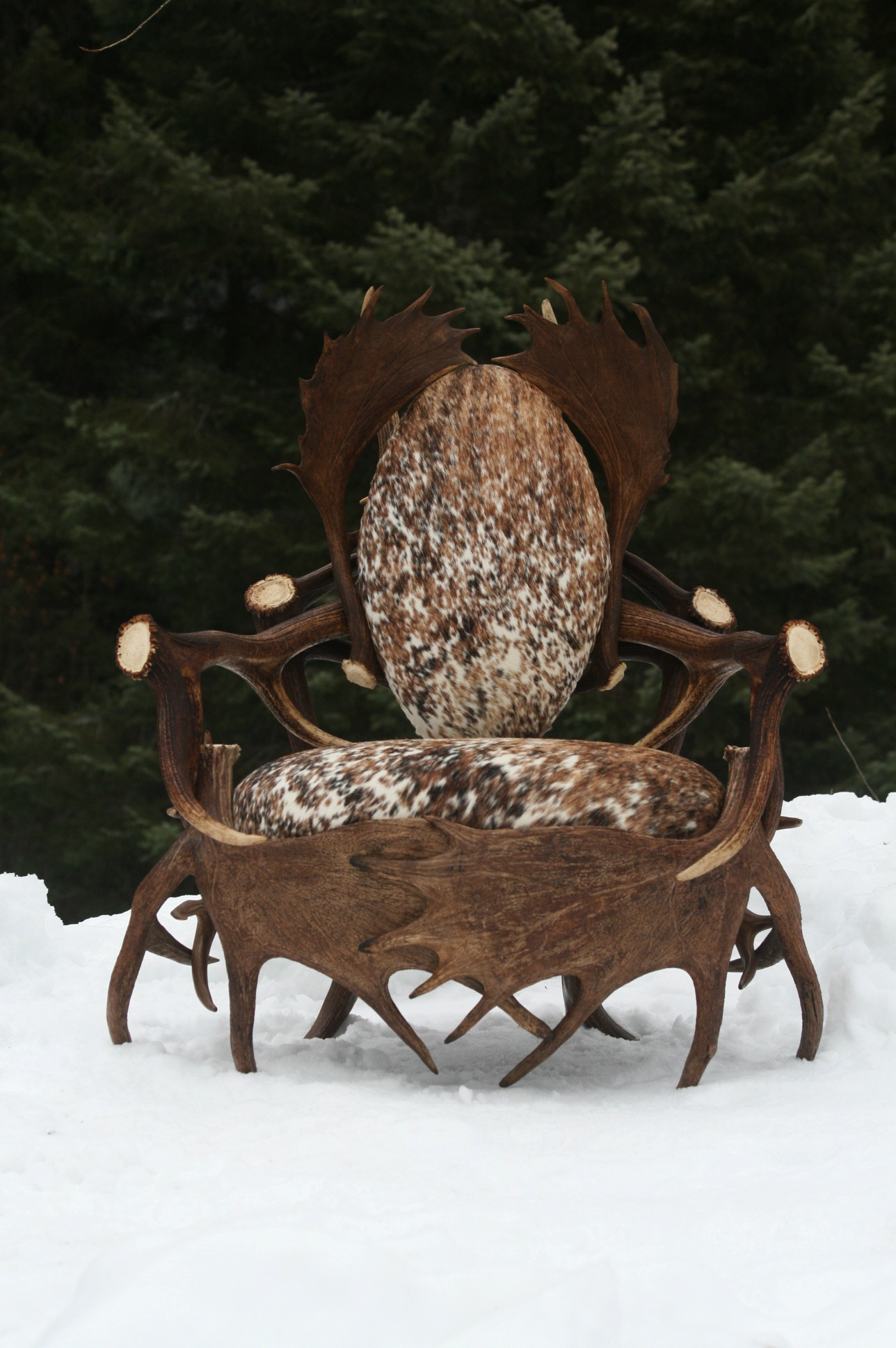 Charmant Large Single Moose Elk Fallow Chair