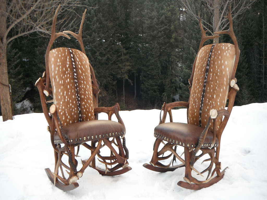 Matching Elk Rocking Chairs w/ Axis Hide