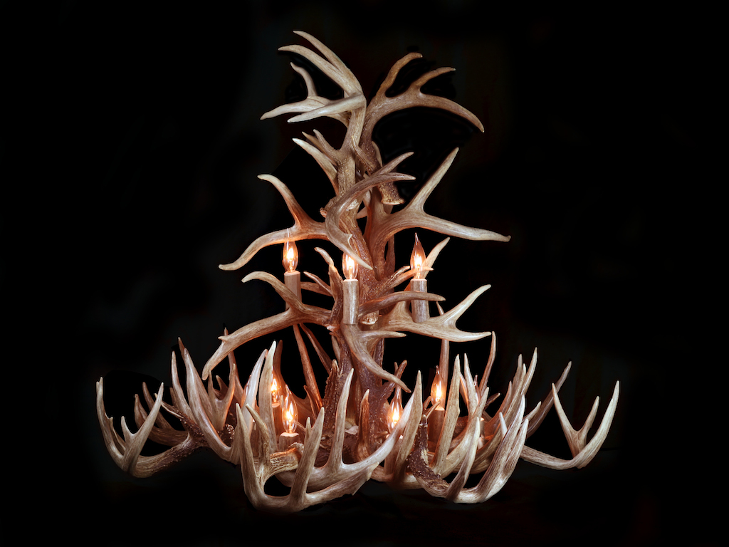 Extended Tall White Tail Chandelier