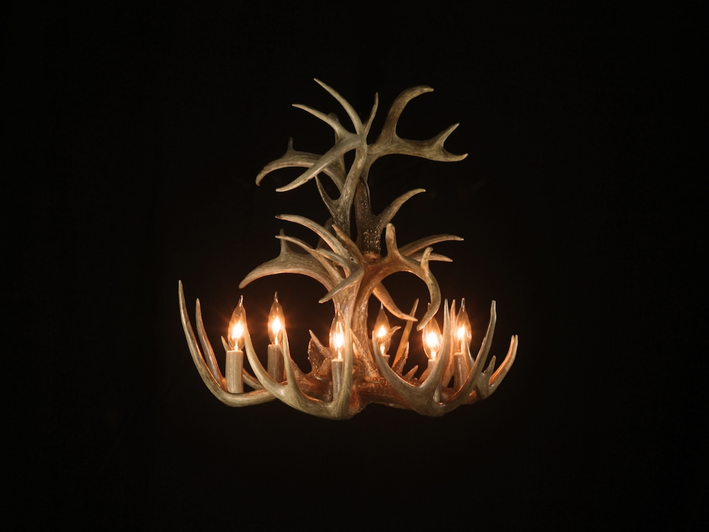 Small Tall White Tail Chandelier