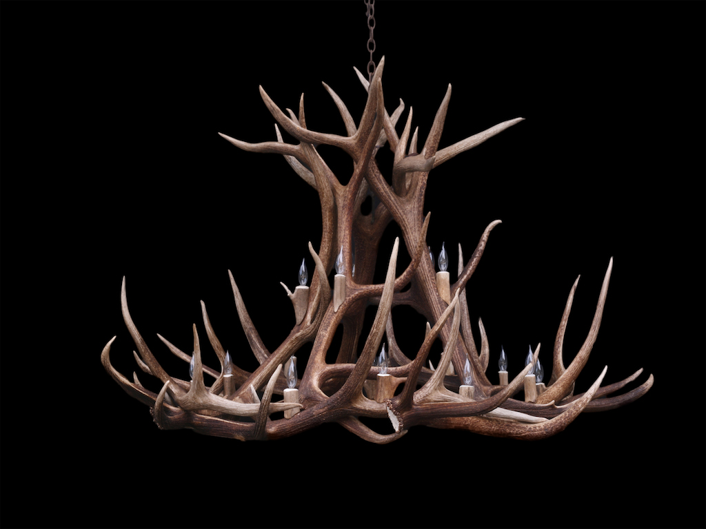 Large Round Elk Chandelier