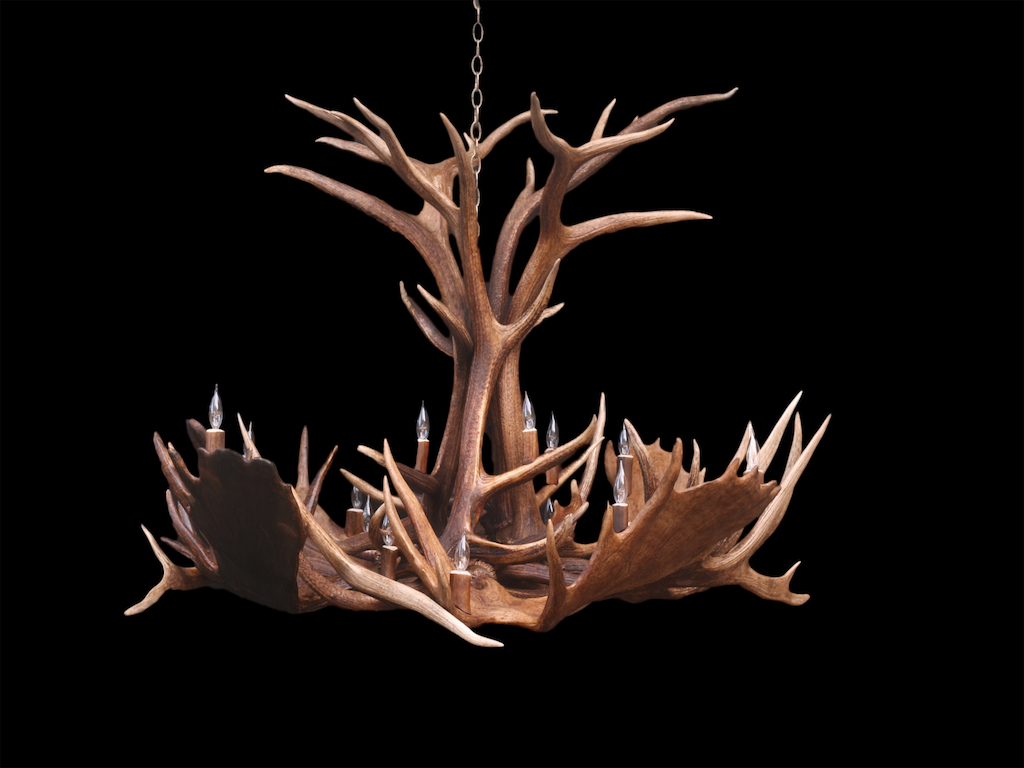 Large Elk Moose Spoke Chandelier