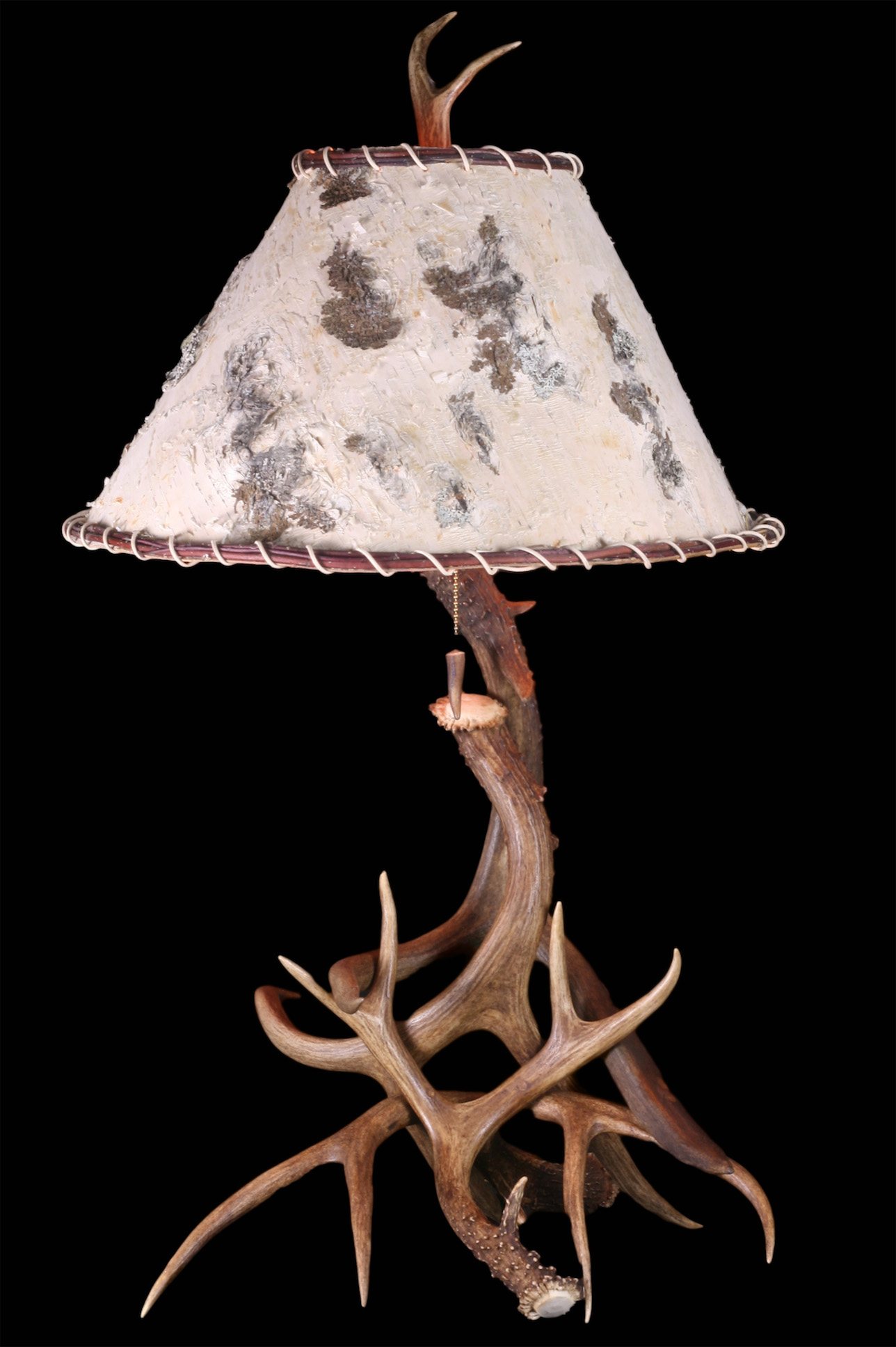 Large Mule Deer Lamp w/ Birch Shade